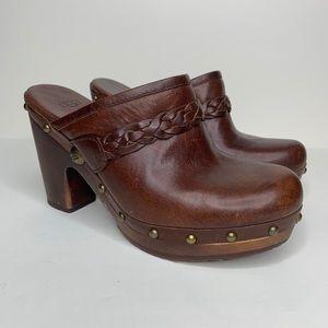 UGG Brown Leather Kaylee Studded Clog